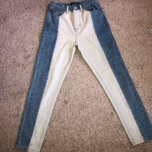 Two Tone (Half White) High Waist Denim Jeans